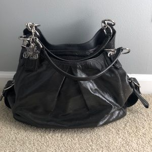 Gray patent leather Coach hobo bag